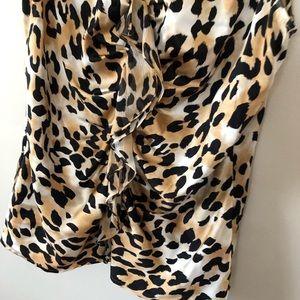 St. John Tops - St. John Leopard Print Silk Ruffle Blouse Shell